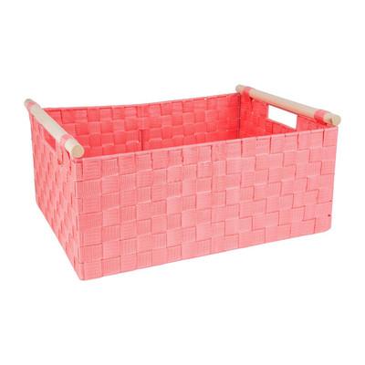 Lademand houten greep - roze - 33x47x21 cm
