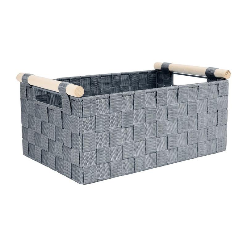 Lademand houten greep - grijs - 23x36x16.5 cm