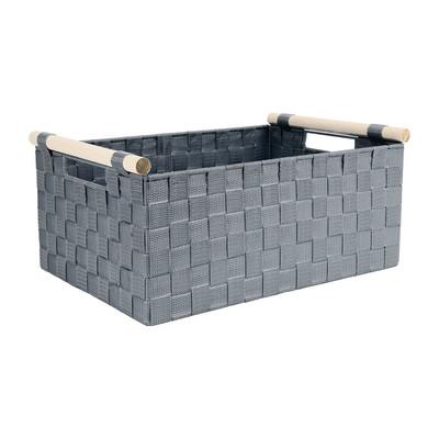 Lademand houten greep - grijs - 28x42x18.5 cm
