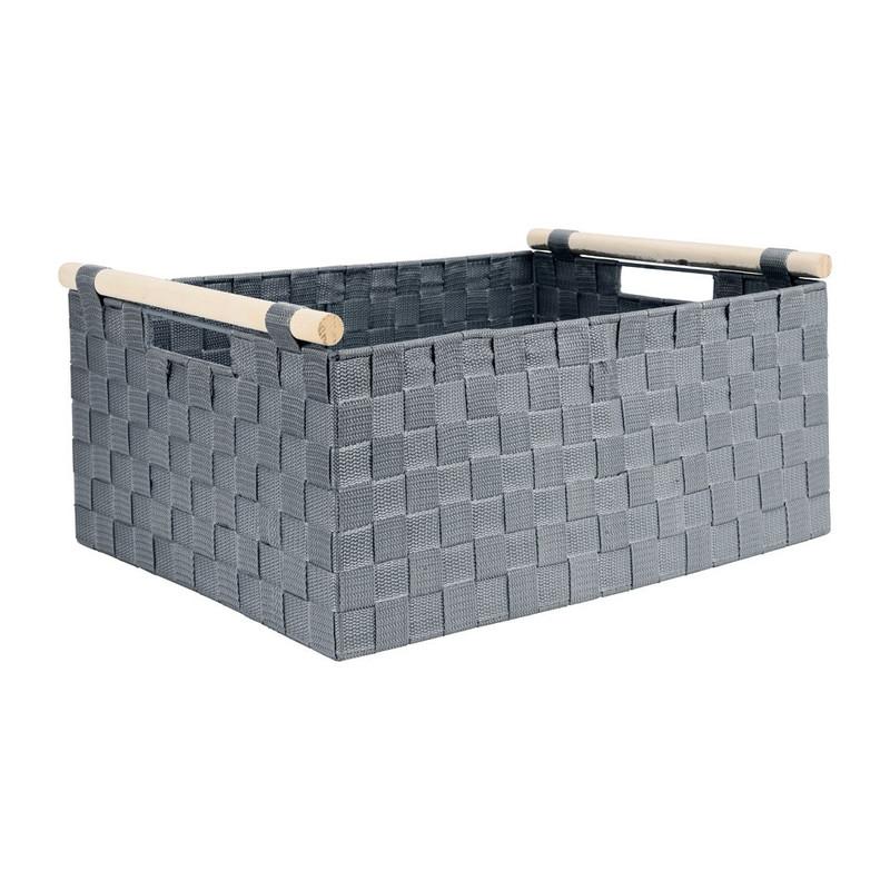 Lademand houten greep - grijs - 33x47x21 cm