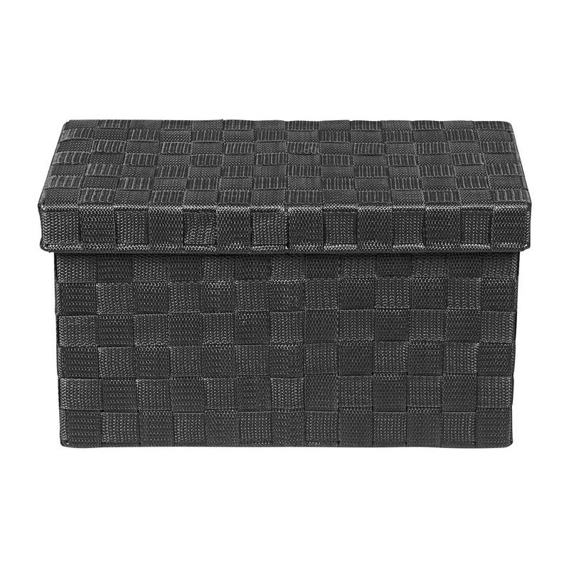 Gevlochten opbergbox S zwart