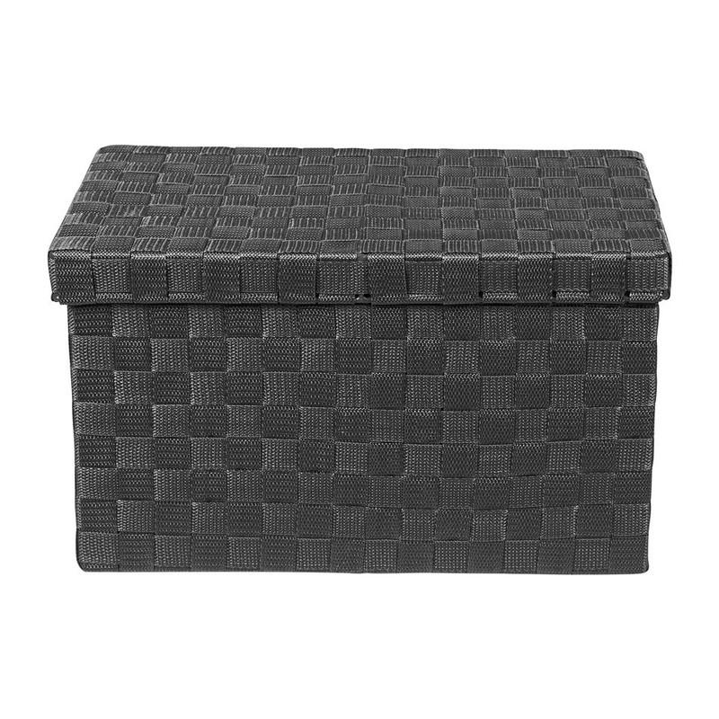 Gevlochten opbergbox M zwart