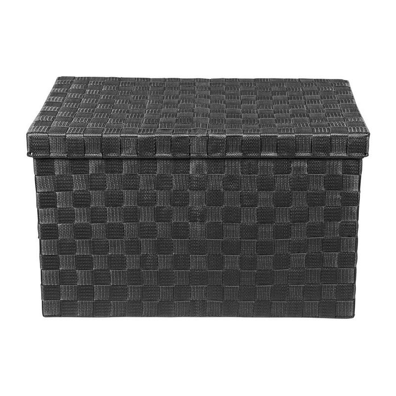 Gevlochten opbergbox L zwart
