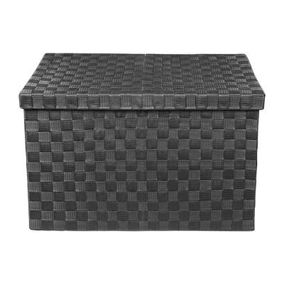 Gevlochten opbergbox XL zwart