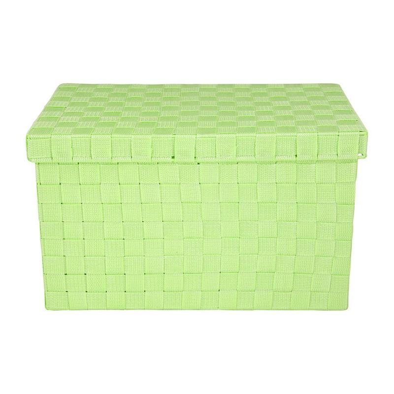 Gevlochten opbergbox M groen