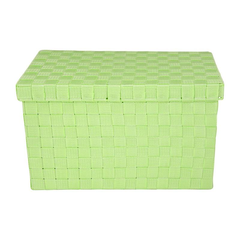 Gevlochten opbergbox L groen