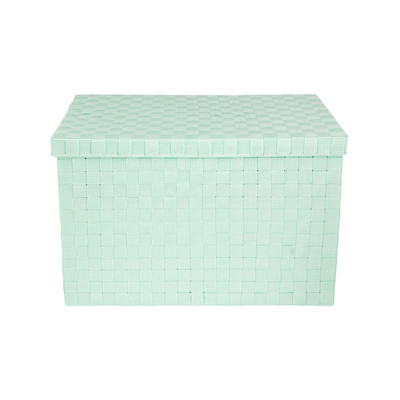 Gevlochten opbergbox XL blauw