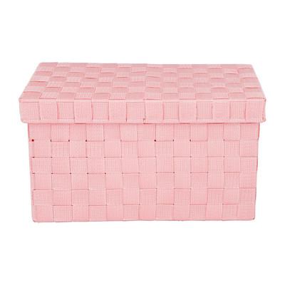 Gevlochten opbergbox S roze