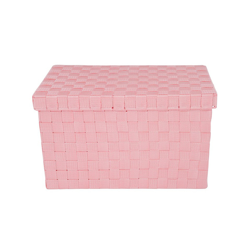 Gevlochten opbergbox L roze