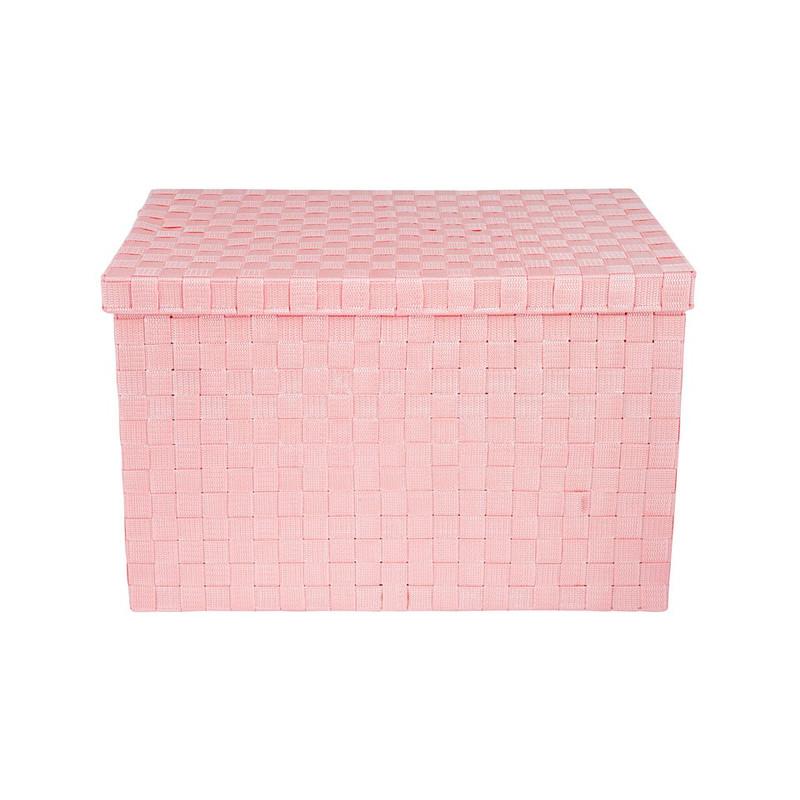 Gevlochten opbergbox XL roze