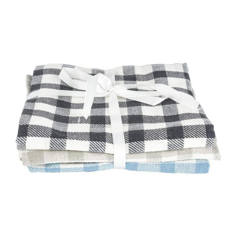 Theedoek - grijs/blauw - set van 3 kopen