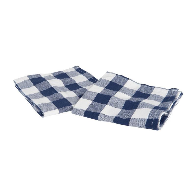 Theedoek ruit - 60x60 cm - blauw/wit - set van 2