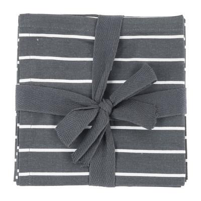 Theedoek streep - 60x60 cm - grijs/wit - set van 2