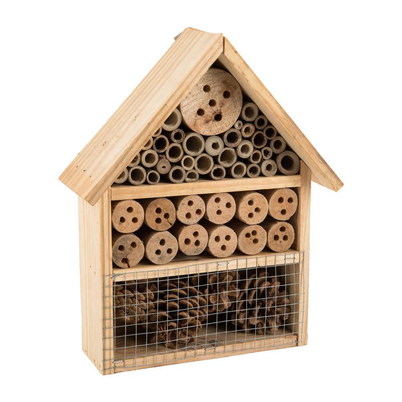 Insectenhotel huisje - hout - 20x30x9 cm