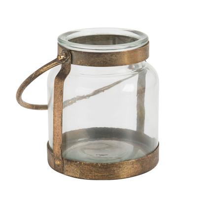 Lantaarn - glas/metaal - 16x18.5 cm