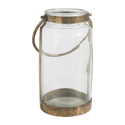 Lantaarn - glas/metaal - 17x30 cm