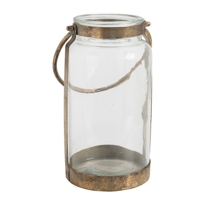 Lantaarn – glas/metaal – 17×30 cm