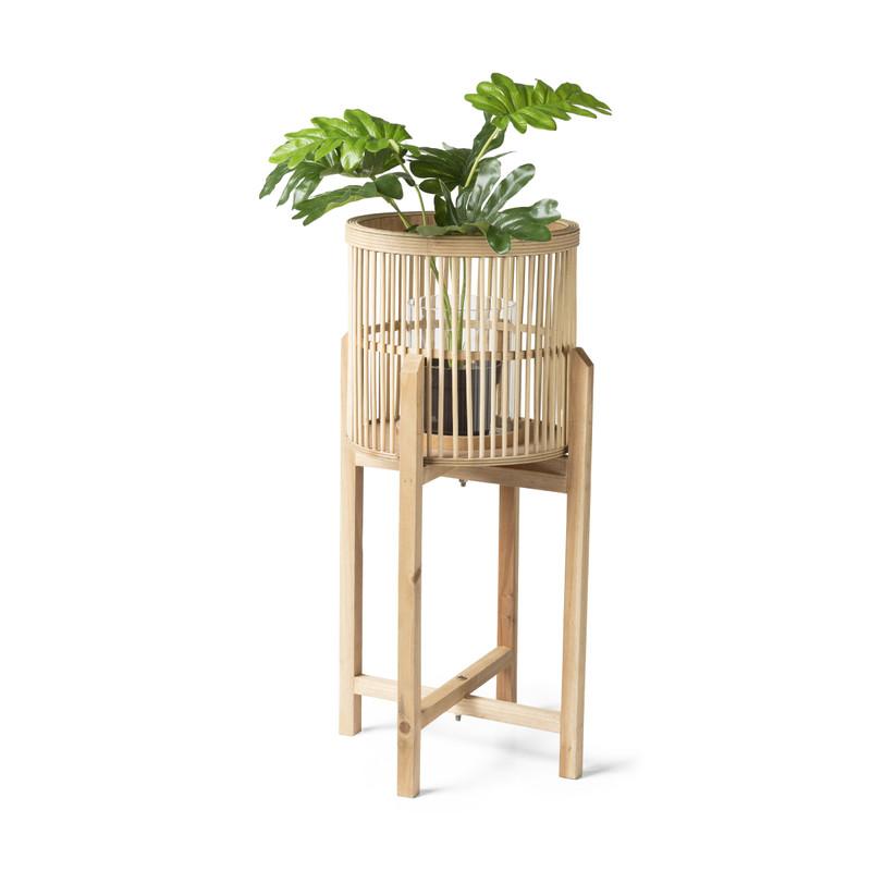 Bamboe lantaarn op voetjes - naturel - 30x60 cm