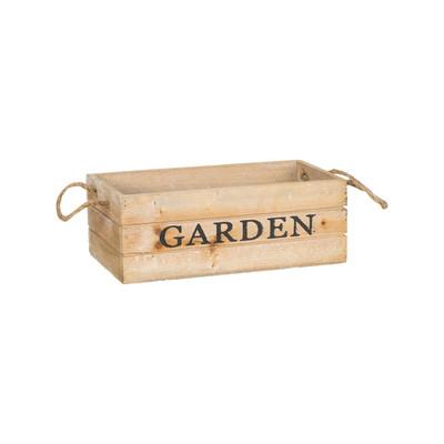 Kistje garden met touwgrepen - 25x12 cm - bruin