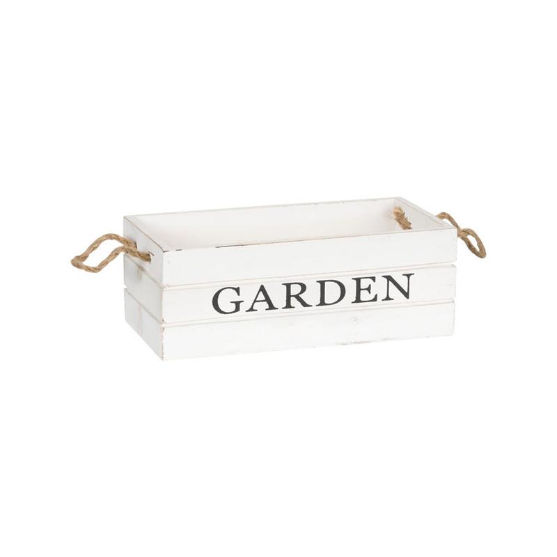 Kistje garden met touwgrepen - 25x12 cm - wit
