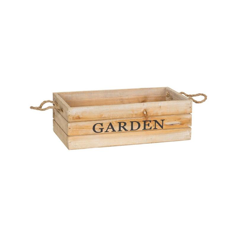 Kistje garden met touwgrepen - 29x15 cm - bruin