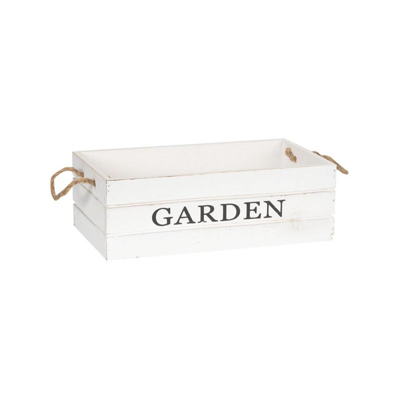 Kistje garden met touwgrepen - 29x15 cm - wit