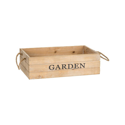 Kistje garden met touwgrepen - 33x20 cm - bruin