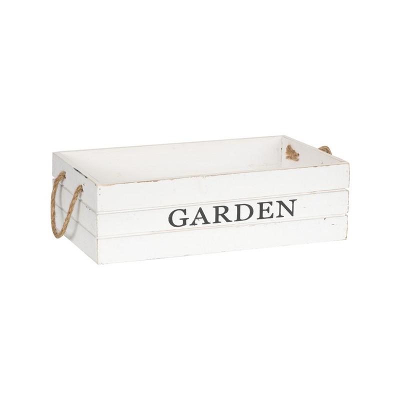 Kistje garden met touwgrepen - 33x20 cm - wit