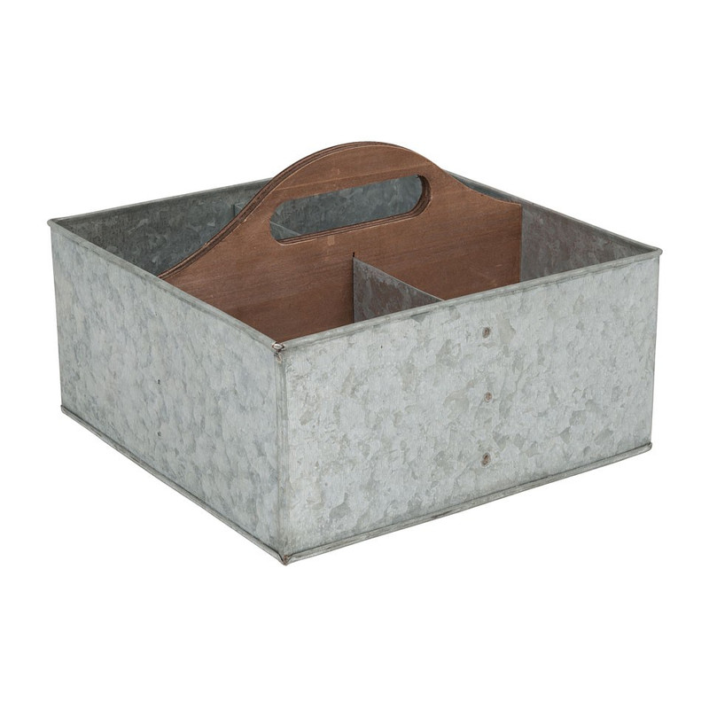 Kweekbak 4-vaks - 21x21 cm - zink