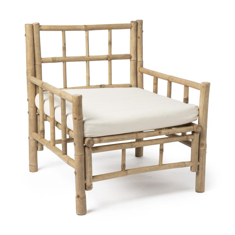 Bamboe fauteuil met kussen - 70x70x80 cm