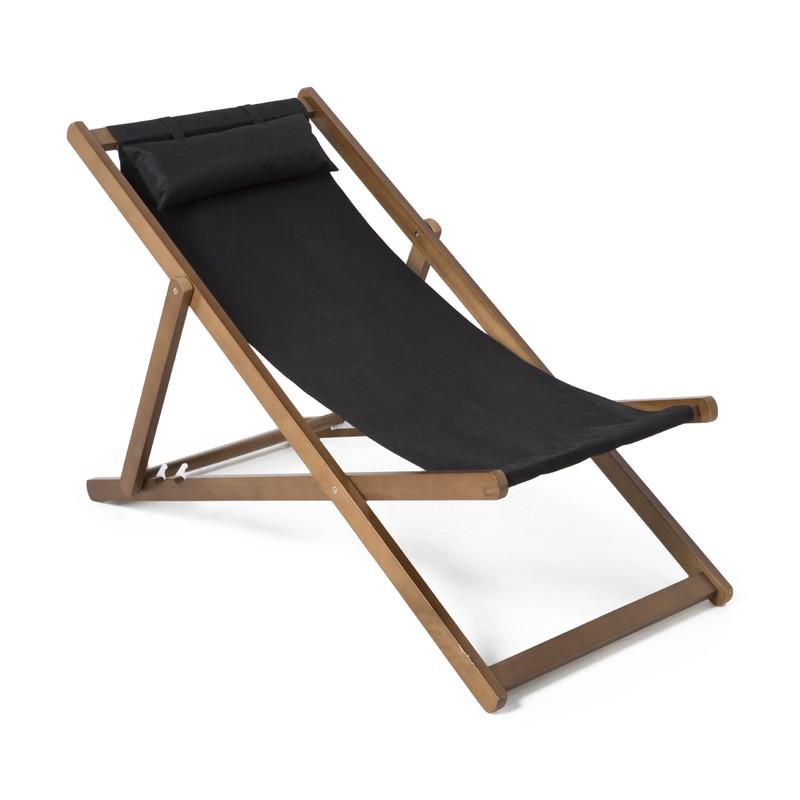 Strandstoel Rimini - zwart - 106x57x80 cm