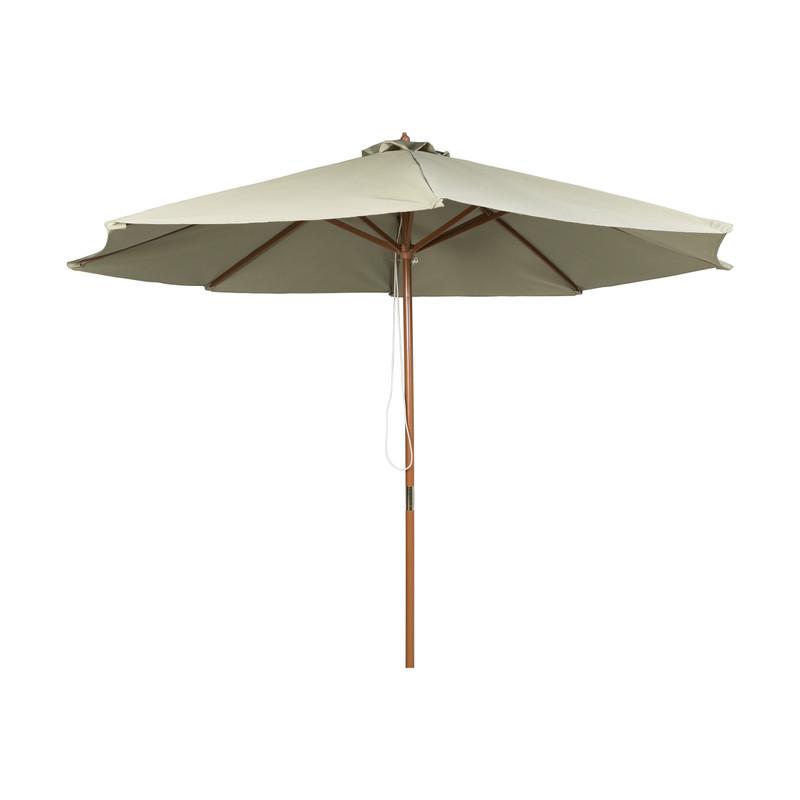 Parasol met houten stok - groen - ⌀300x250 cm