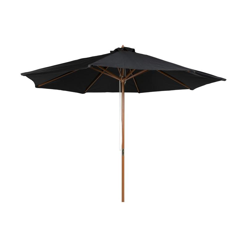 Parasol met houten stok - zwart - ⌀300x250 cm