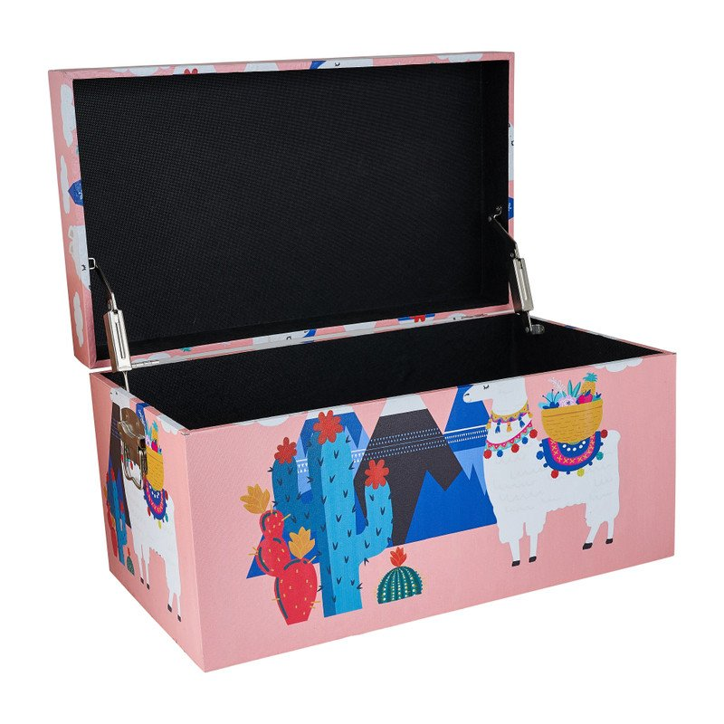 Opbergkist lama - roze - 55x32x30 cm
