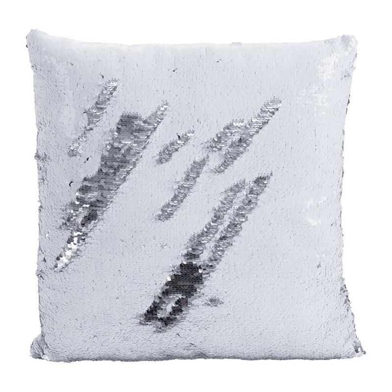 Kussen pailletten - wit/zilverkleurig - 43x43 cm