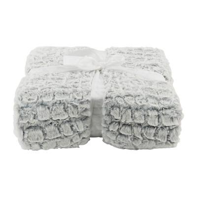 Plaid dierenvacht - wit/grijs - 160x130 cm
