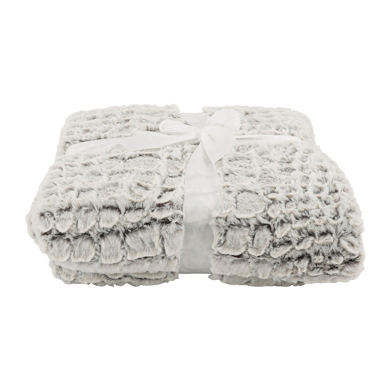 Plaid dierenvacht - wit/bruin - 160x130 cm