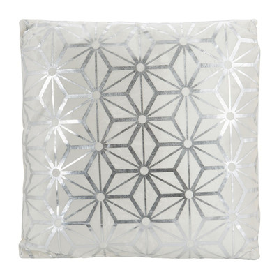 Kussen grafisch - wit/zilver - 45x45 cm