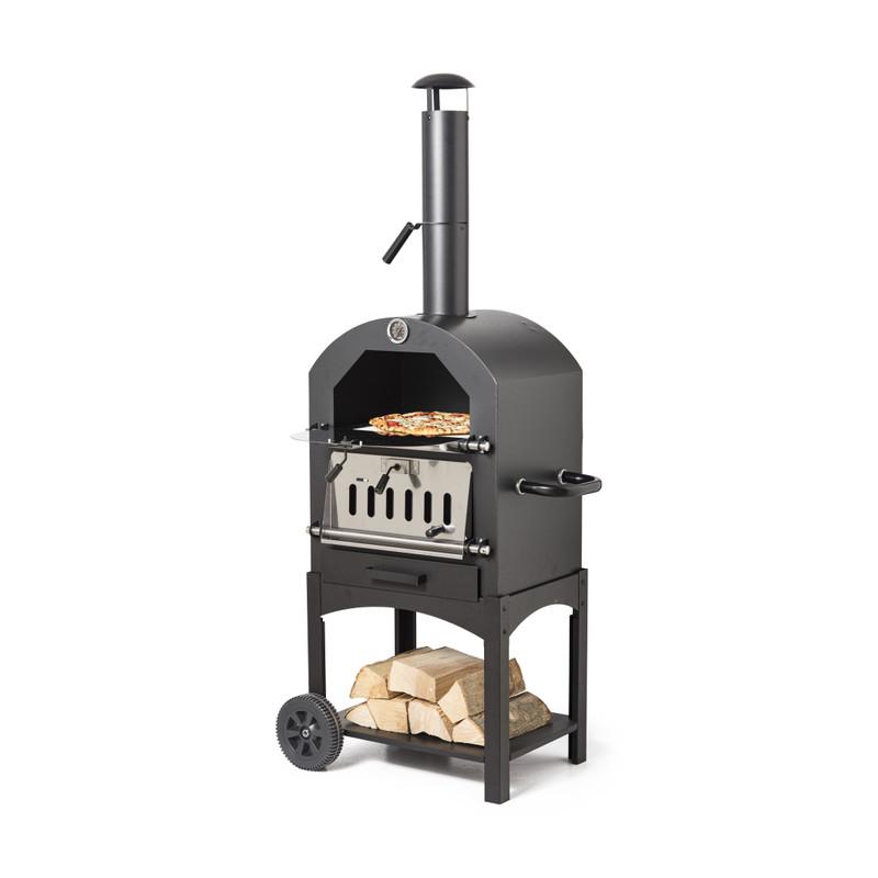 BBQ pizza oven zwart-zilver staal 68 x 48 x 156 cm