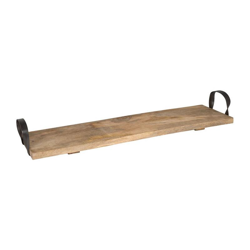 Dienblad plank ijzeren grepen - 70x20 cm
