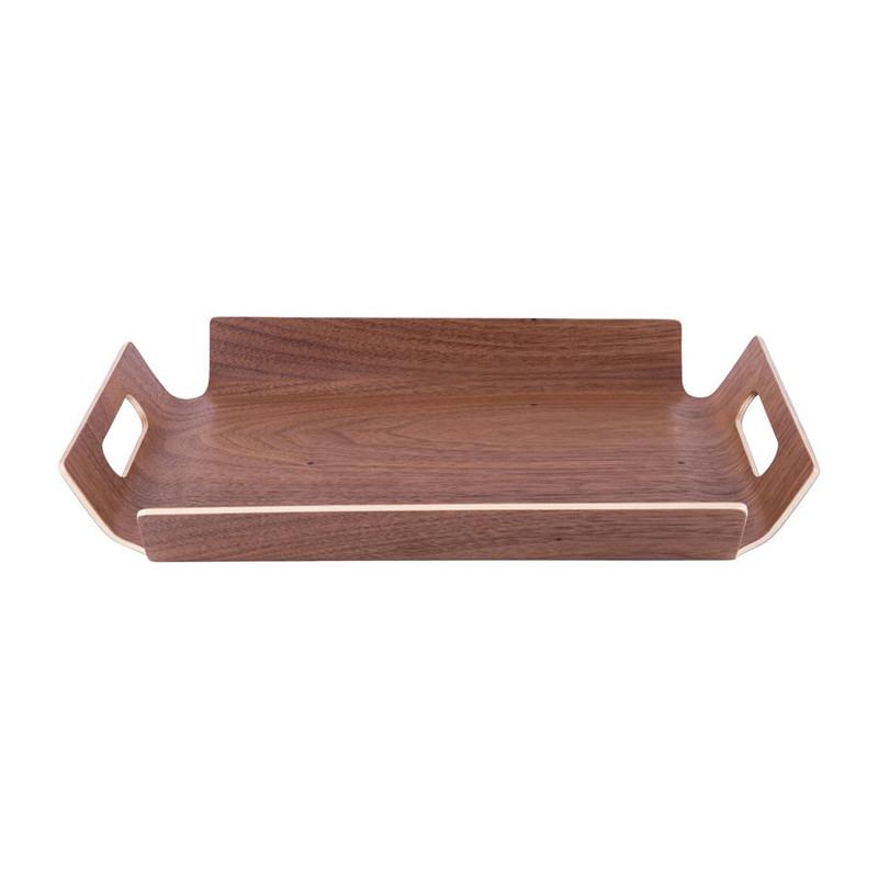 Dienblad van walnoothout - bruin - 28x40 cm
