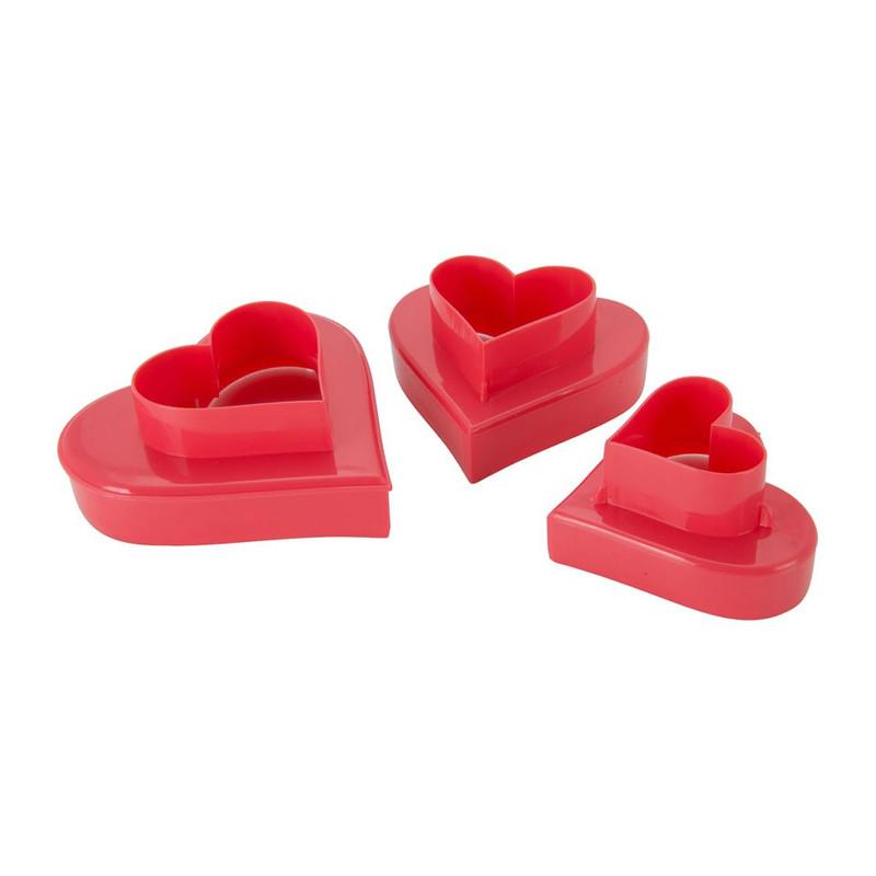 Uitsteekvormpjes hart - set van 3