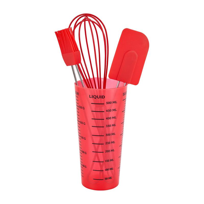 Bakartikelen in maatbeker - rood - 4-delig