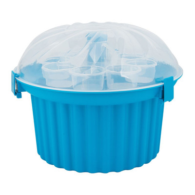 Cupcake bewaardoos - 24 stuks - blauw