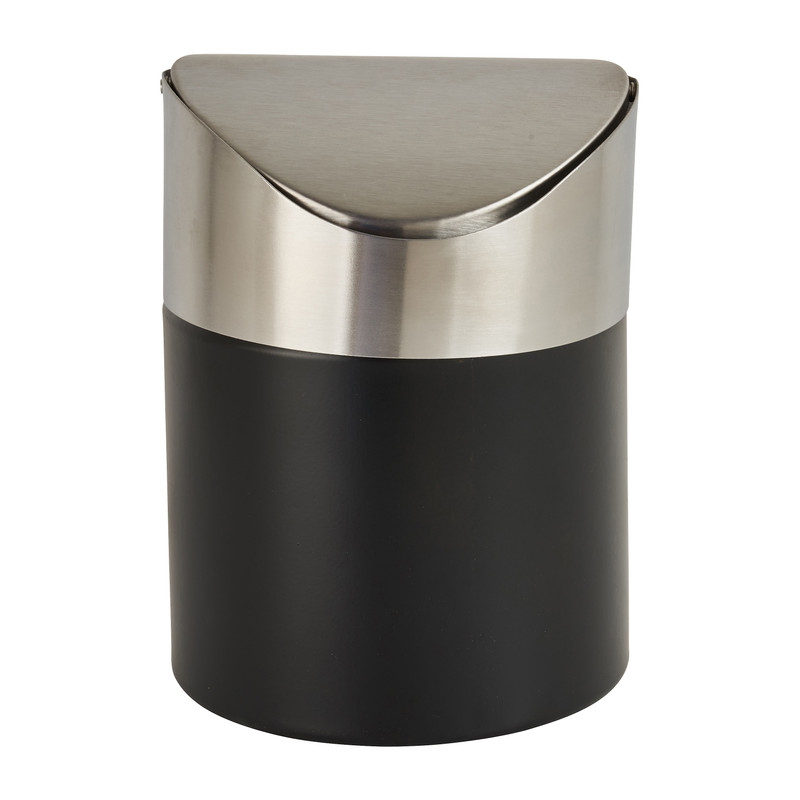 Tafel afvalbakje - zwart/rvs - 11.5x17 cm