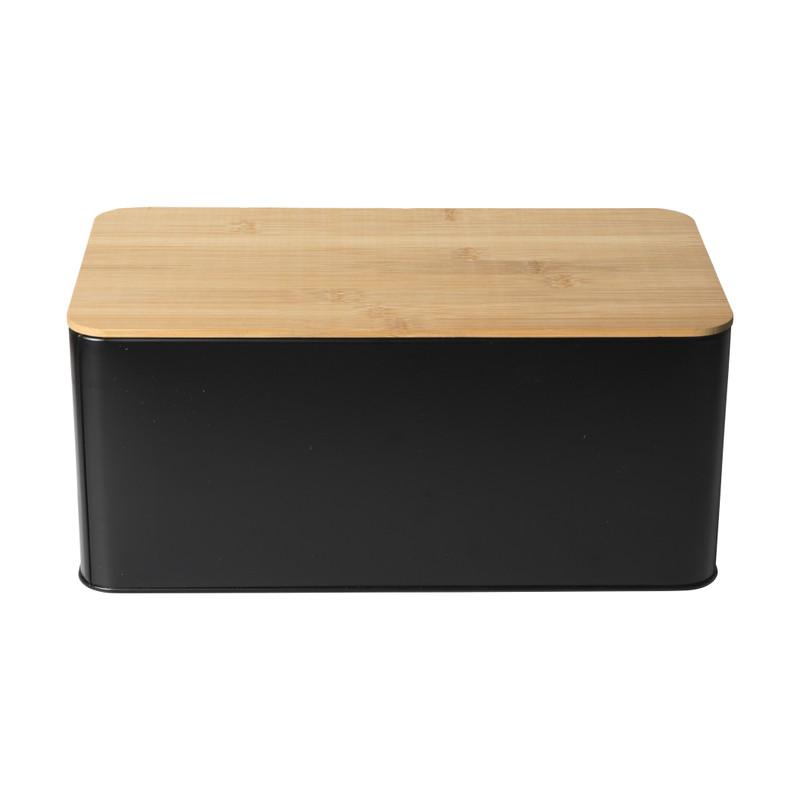 Broodtrommel met plank - zwart - 31x17x14 cm