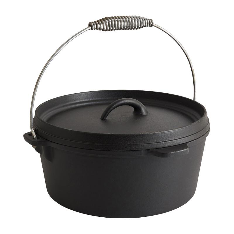 Gietijzeren pan met deksel - zwart - 28x30x11 cm