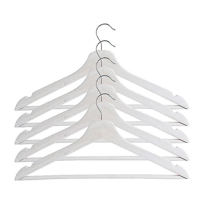Houten kledinghangers - wit - set van 5