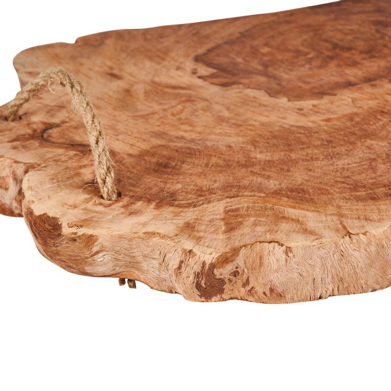 Serveerplateau met touw - klengkeng hout - 37x33x3 cm