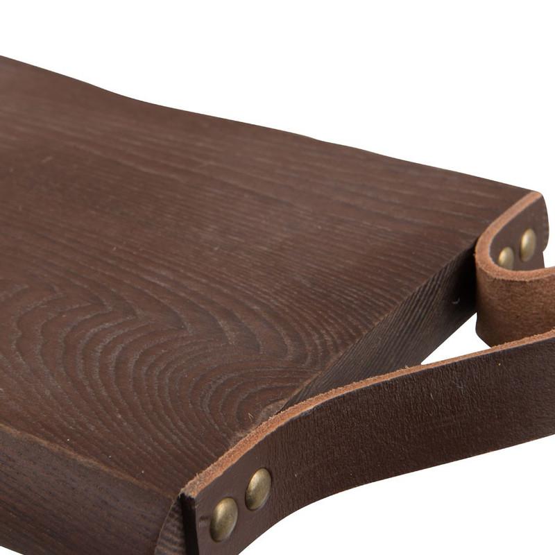 Plank met lederlook greep - hout - 18x28 cm
